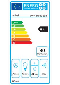 Etichetta energetica cappa a parete berbel Blockline BWH 90 BL