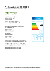Produktdatenblatt berbel Cappe a isola Ergoline BIH 110 EG