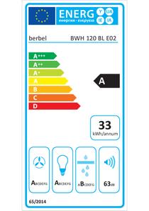 Etichetta energetica cappa a parete berbel Blockline BWH 120 BL