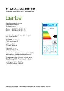 Produktdatenblatt berbel Cappe a isola Smartline BIH 90 ST