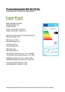 Produktdatenblatt berbel Cappe a isola Blockline BIH 90/120 BL