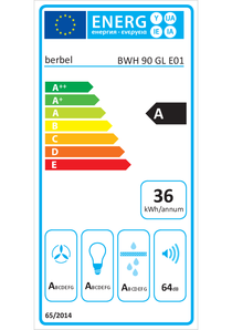 Etichetta energetica cappa a parete berbel Glassline BWH 90 GL