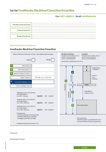 Planungsformular berbel Cappe a isola Blockline/Classicline/Smartline BIH BL/CL/ST